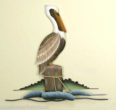 Coastal Art Designs Single Pelican Handmade Wood & Metal  Wall Sculpture