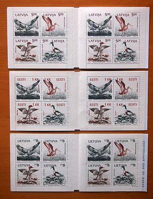 Latvia 1992 Birds Of The Baltic Sea -  3 Different Stamp Booklets
