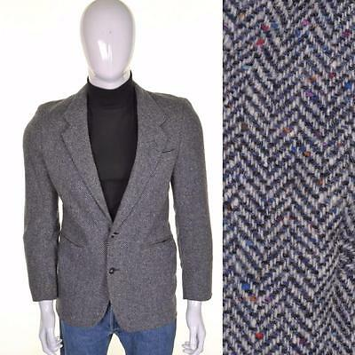VINTAGE 70s TWEED GIACCA S 38R Grigio Lana A spina di pesce Completo
