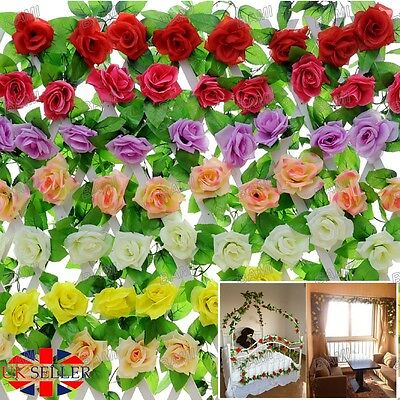 9Ft Artificial Fake Rose Flower Silk Ivy Vine Garland Wedding Party Home Decor