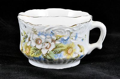 Antique Painted Porcelain Shaving Cup - Yellow, White and Blue Flowers