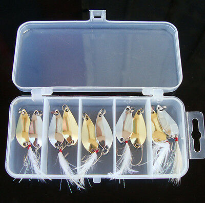 10pcs Lot & Box Assorted Metal Spoons Fishing Lures Baits Mixed Weight Tackles