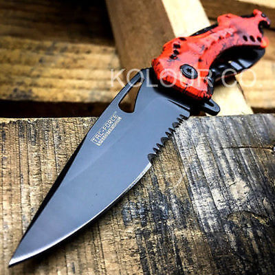 "8"" Spring Assisted Open Folding Pocket Knife Military Bowie Tactical Combat"