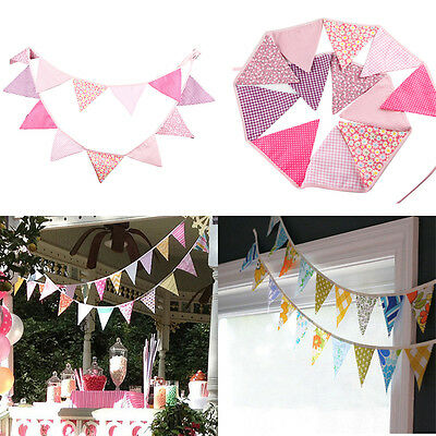 12 Flag Pink Cotton Party Wedding Pennant Bunting Banner Baby Photography Decor