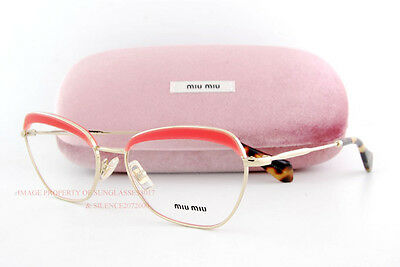 8852f577ade0 Brand New Miu Miu Eyeglass Frames MU 51N 51NV PC2 Gold Pink Women Size 54