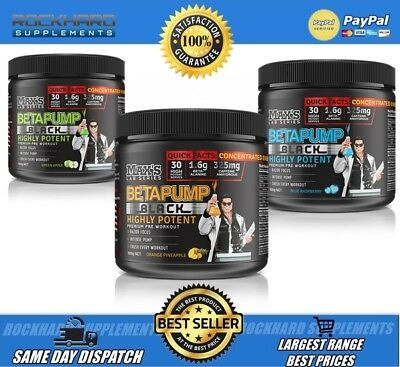 Max's Betapump Black Pre Workout 60 Scoops Nitric Oxide Energy Booster