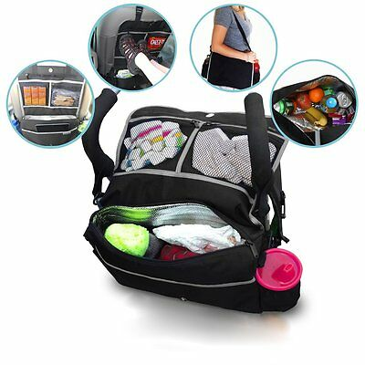 5 In 1 Insulated Stroller Bag Backseat Organizer Cooler Baby Care Accessory Aid