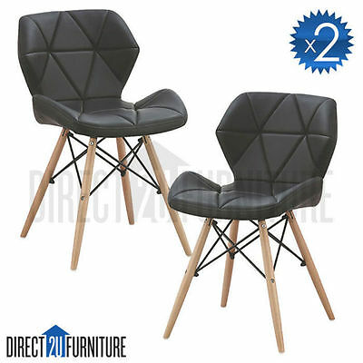2x modena retro replica eames dsw chairs pu leather office designer
