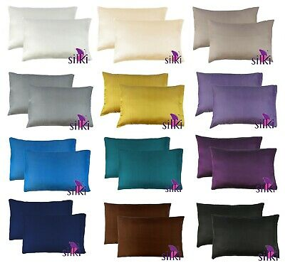 1 Pair 100% MULBERRY Silk (2 sides!) Pillow cases cover 25 momme QUEEN w. ZIPPER
