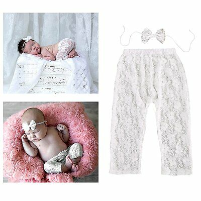 Newborn Baby Girls Lace Pants + Headband Costume Photo Photography Prop Outfits