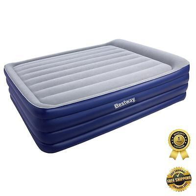 Bestway Queen Bed Inflatable Flocked AIR MATTRESS w Built In Pump Camping Camp