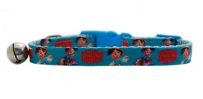 "Blue Disney  ""Pinocchio ""   safety kitten cat collar 3 sizes"
