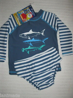 Grey SHARKS Baby Boys Bathers Swim Nappy 000 00 0 1 2 UPF50+ **FREE POST**