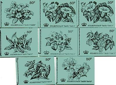ALL 8 x 50p BRITISH FLOWERS SERIES BOOKLETS DT1-DT8 1971-1972 F16