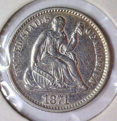 1871 Seated Liberty Silver Half Dime SL 1/2D ~ About Uncirculated AU