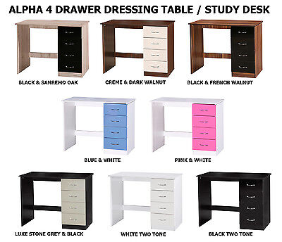 Alpha High Gloss 4 Drawer Dressing Table PC Study Desk - 8 Colours
