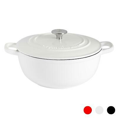 3.5L Round, Cast Iron Casserole Cooking Dish With Lid - Cream