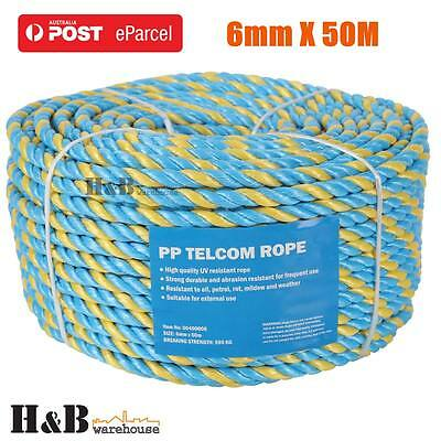 6mm x 50M Telstra Rope Parramatta Rope Coils Breaking Strength 595 KG T0246