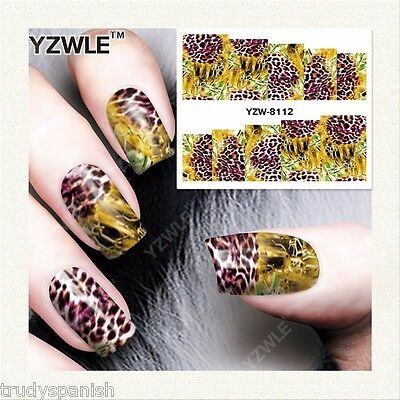 Full Wrap Water Transfers Nail Art Stickers Decals Leopard Print Peacocks (8112)