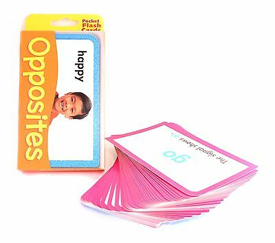 New Opposites Facts 56 Pocket Flash Cards Kids Children School Learning Cards