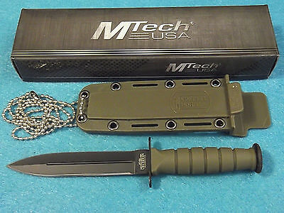 "MTech MT632DGN OD Green Mini Combat Dagger Fixed Blade Neck Knife 6"" overall NEW"