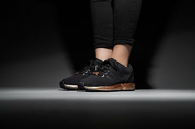 official photos e4278 f027a WOMENS ADIDAS ZX Flux Black Copper Rose Gold Metallic NMD Medal S78977 Size  6-10