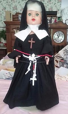 "Vintage Eegee Nun Jointed Doll Rubber  Head Hard  Body Eyes Open Close 21""tall"