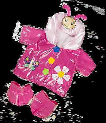 "Pink Butterfly Raincoat And Boots Outfit Clothes. Fits 8""  Build A Teddy Bear"