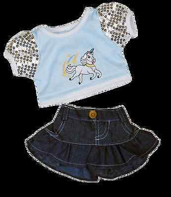 "Unicorn Glitter Outfit Teddy Clothes. Fits 15"" Build A Bear Factory"