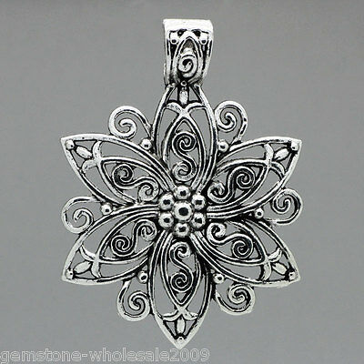 "Wholesale W09 Charm Pendants Hollow Pattern Carved Flower 2 5/8""x1 7/8"""