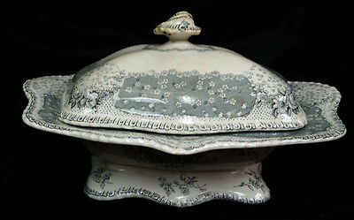 "RARE vintage Doulton Burslem 12"" soup tureen english pottery Oriel transferware"