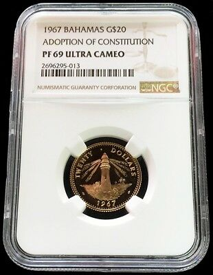 1967 Gold Bahamas $20 New Constitution Coin Ngc Proof 69 Uc Only 850 Minted