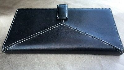 Tusk Black Leather Checkbook Cover Holder With Red Leather Inside