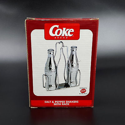 1998 COCA-COLA Chrome Salt & Pepper Shakers with Rack NOS COKE Bottle Shakers