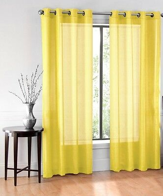 1 Pure Solid Bronze 8 Grommet Sheer Window Panel Curtain Treatment Drape Yellow