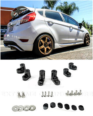 Rear BLACK Spoiler Lip Wing Riser Raiser Kit For 14-Up Ford Fiesta ST Hatchback