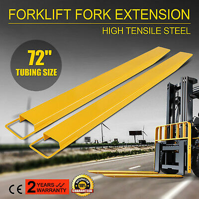 "72x5.5"" Forklift Pallet Fork Extensions Pair Lift Truck High Tensile Slide Clamp"