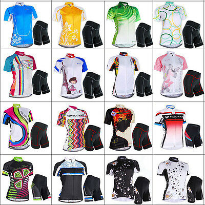 Pro Women Team Cycling Bike Bicycle Clothing Suit Short Sleeve Jersey&Pants Set