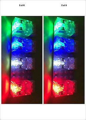 LED light trans clear Building bricks 2x3,on/off switch, set of 8,fit with lego