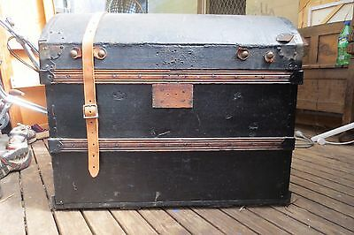 Vintage trunk storage or travel trunk pirates treasure chest style