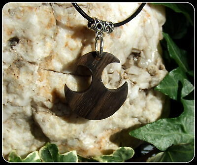Tribal Pendant Necklace handcrafted from 5000 year old Irish Bog Oak Wood Pagan