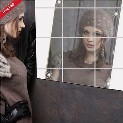 0.2mm Self Adhesive MirrorTiles Wall Stickers High Gloss Living Room Home Decor