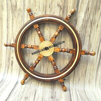 """24""""Nautical Wooden Ship Steering Wheel Pirate Decor Wood Brass Wall Boat Captain"""