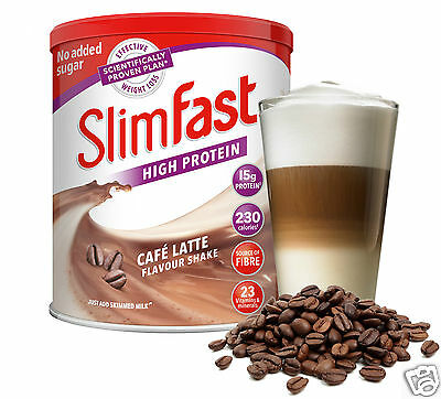 SlimFast Diet High Protein Powder Shake Weight Loss Replacement Meal Café Latte