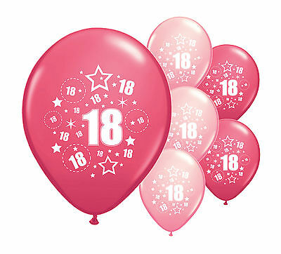 "8 x 18TH BIRTHDAY PINK MIX 12"" HELIUM OR AIRFILL BALLOONS (PA)"