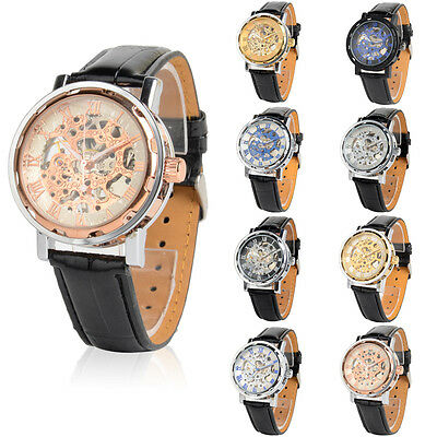 Luxury Skeleton Roman Numerals PU Strap Automatic Mechanical Wrist Watch Men