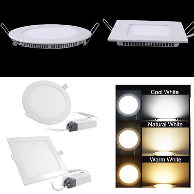 Dimmable Epistar Recessed LED Ceiling Light Round/Square Panel Down Spot Lamps