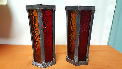 Vintage Lead and Glass Pillar Candle Holder Pair