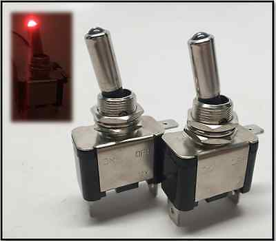 PactradeMarine 2pcs Automotive Car Red Dot LED Toggle Switch Control SPST On/Off