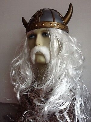 The Old Viking Long Wavy Fancy Dress Wig & White Droop Moustache. Hat Not Incl>